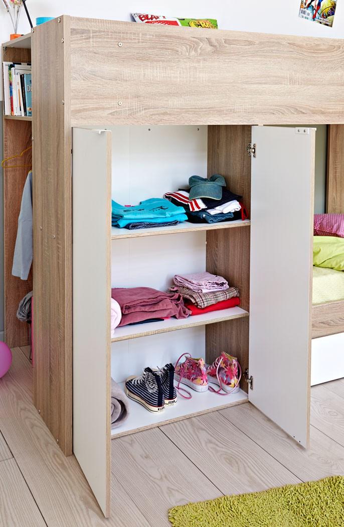 Etagenbett stian 90x200 cm eiche wei kinderbett hochbett for Jugendzimmer 2 betten