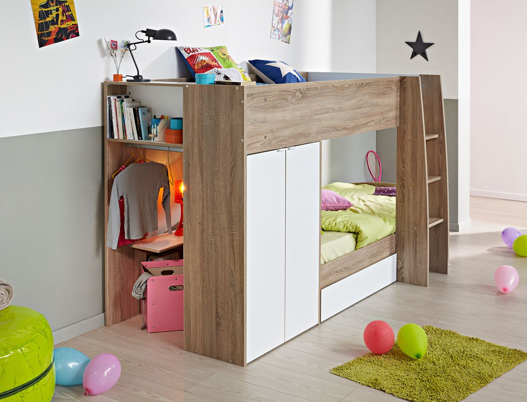 etagenbett bett 90x200 cm eiche wei hochbett jugendbett kinderbett stian. Black Bedroom Furniture Sets. Home Design Ideas