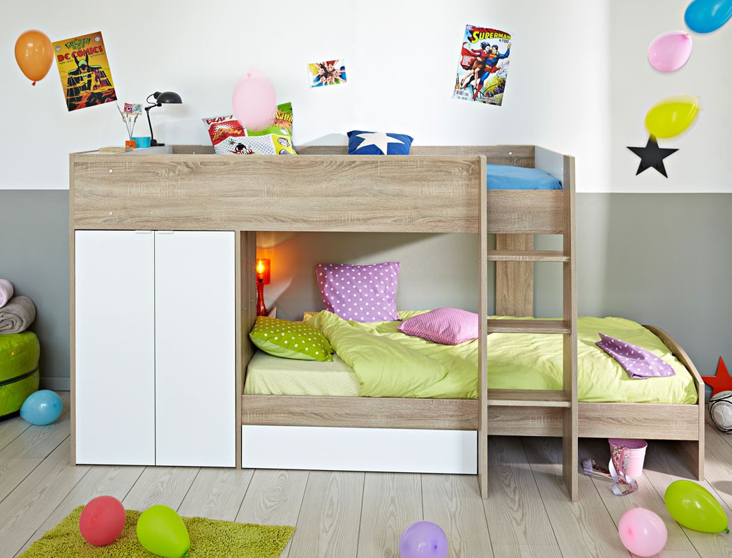 Etagenbett Stian 90x200 cm eiche weiß Kinderbett Hochbett ...